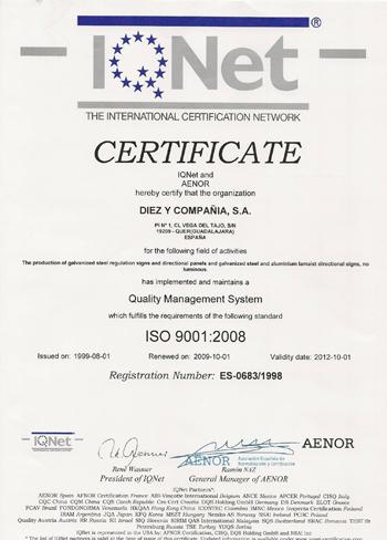 Garantia de Calidad ISO 9001 IQNET con el Medio Ambiente - La Tienda de Señales en Madrid