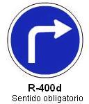 Señal R-400d sentido obligatorio