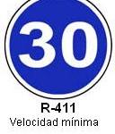 Señal R-411 velocidad minima
