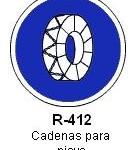 Señal R-412 cadenas para nieve