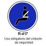 Señal R-417 uso obligatorio del cinturon de seguridad