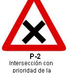 Señal P-2 intersección con prioridad a la derecha