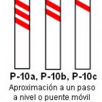 Señal P 10 aproximación a un paso a nivel o puente móvil lado izquierdo