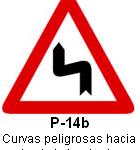 Señal P 14b curvas peligrosas hacia la izquierda