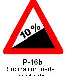 Señal P 16b subida con fuerte pendiente
