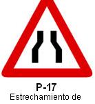 Señal P 17 estrechamiento de calzada
