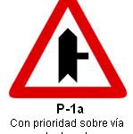 Señal P-1a intersección con prioridad sobre via a la derecha
