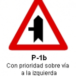 Señal P-1b intersección con prioridad sobre via a la izquierda