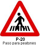 Señal P 20 paso para peatones