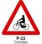 Señal P 22 ciclistas