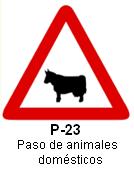 Señal P 23 paso de animales domésticos