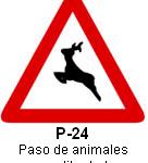 Señal P 24 paso de animales en libertad