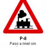 Señal P 8 Paso a nivel sin barreras
