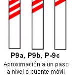 Señal P 9 aproximación a un paso a nivel o puente móvil lado izquierdo