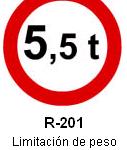 Señal R-201 limitación de peso