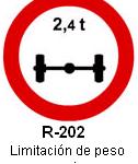 Señal R-202 limitación de peso por eje