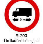 Señal R-203 limitación de longitud