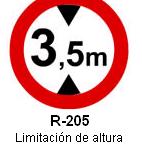 Señal R-205 limitación de altura