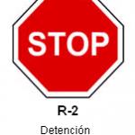Señal R-2 detencion obligatoria