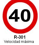 Señal R-301 velocidad maxima