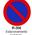 Señal R-308 estacionamiento prohibido
