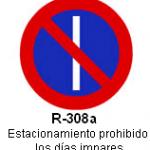Señal R-308a estacionamiento prohibido los dias impares