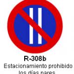 Señal R-308b estacionamiento prohibido los dias pares
