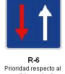 Señal R-6 prioridad respecto al sentido contrario