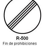 Señal R-500 fin de prohibiciones