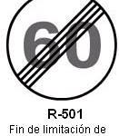 Señal R-501 fin de limitacion de velocidad