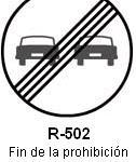 Señal R-502 fin de la prohibicion de adelantamiento