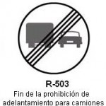 Señal R-503 fin de la prohibicion de adelantamiento para camiones