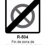 Señal R-504 fin de zona de estacionamiento limitado